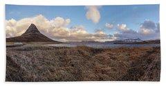 Bath Towel featuring the photograph Kirkjufell Mountain Panoramic View, Iceland by Pradeep Raja PRINTS