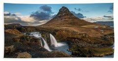 Kirkjufellsfoss Waterfall And Kirkjufell Mountain, Iceland Hand Towel