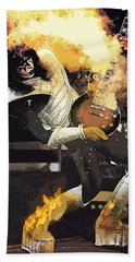 Bath Towel featuring the digital art Kiss Ace Frehley Guitar On Fire by Joy McKenzie