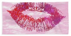 Hand Towel featuring the mixed media Kiss Like You Mean It by Dan Sproul