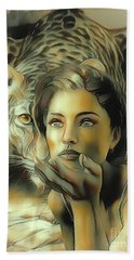 Kiss Of The Leopard Woman Hand Towel