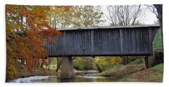 Kissing Bridge At Fall Bath Towel by Eric Liller