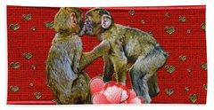Kissing Chimpanzees Hearts Bath Towel