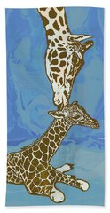 Kissing - Giraffe Stylised Pop Art Poster Hand Towel
