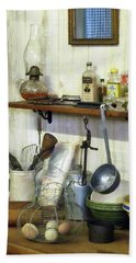 Kitchen With Wire Basket Of Eggs Bath Towel by Susan Savad