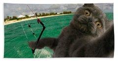 Kite Surfing Cat Selfie Bath Towel