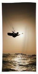 Kitesurfing At Sunset Hand Towel