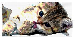 Hand Towel featuring the mixed media Kitten by Charles Shoup