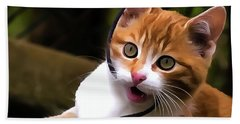Kitten Portrait Player Hand Towel by Odon Czintos