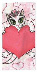 Kitten With Heart Hand Towel
