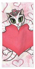 Kitten With Heart Bath Towel by Carrie Hawks