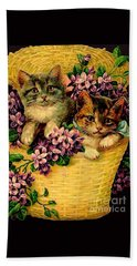 Kittens With Violets Victorian Print Bath Towel