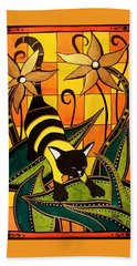 Hand Towel featuring the painting Kitty Bee - Cat Art By Dora Hathazi Mendes by Dora Hathazi Mendes