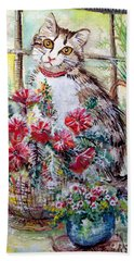 Kitty In The Window Hand Towel by Linda Shackelford