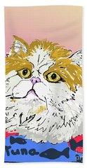 Kitty In Tuna Can Bath Towel by Ania M Milo