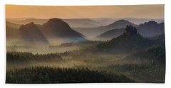 Kleiner Winterberg Silhouettes, Saxon Switzerland, Germany Bath Towel