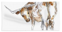 Kmcelwaine Logo Longhorn, Ollie, Texas Longhorn Art Print,watercolor Cow Painting, Whimsical, Bath Towel by Kathleen McElwaine