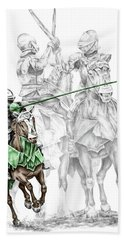 Knight Time - Renaissance Medieval Print Color Tinted Hand Towel