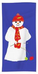 Knitting Snowman Hand Towel by Barbara Moignard