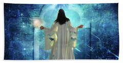 Bath Towel featuring the digital art Knocking On Heavens Door by Dolores Develde