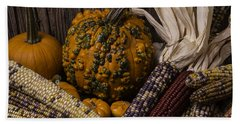 Knuklehead Pumpkin And Indian Corn Bath Towel