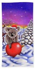 Koala On Christmas Ball Hand Towel