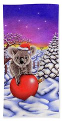 Koala On Christmas Ball Hand Towel
