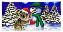 Koala With Snowman Hand Towel