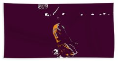 Bath Towel featuring the mixed media Kobe Bryant In Flight 08b by Brian Reaves