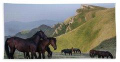 Kobilini Steni Peak Horses-1 Bath Towel