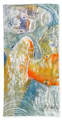 Hand Towel featuring the painting Koi Carp Feeding Frenzy by Bill Holkham