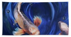 Bath Towel featuring the painting Koi by Donna Tuten