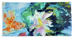 Koi Fish And Water Lilies Bath Towel