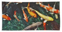 Bath Towel featuring the painting Koi by Harry Warrick