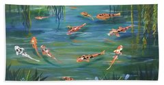 Koi In The  Willows Hand Towel