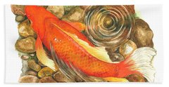 Koi With Ripple Hand Towel