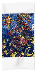 Kokopelli Mosaic Hand Towel by Megan Walsh