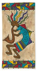 Bath Towel featuring the painting Kokopelli Sax Player by Susie WEBER