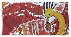 Kokopelli Spring Snow Hand Towel by Don Koester