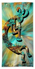 Kokopelli Turquoise And Gold Bath Towel
