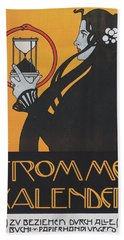 Koloman Moser Plakat  Fur Frommes Kalender 1899 Hand Towel