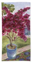 Hand Towel featuring the painting Kona Bougainvillea by Jamie Frier