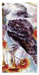 Hand Towel featuring the painting Kookaburra In Red Flowering Gum by Ryn Shell