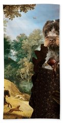 Korthals Pointing Griffon Art Canvas Print - The Hunters And Lady Falconer Hand Towel