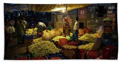 Hand Towel featuring the photograph Koyambedu Chennai Flower Market Predawn by Mike Reid