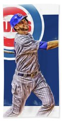 Kris Bryant Chicago Cubs Oil Art Hand Towel by Joe Hamilton