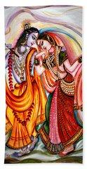 Krishna And Radha Hand Towel by Harsh Malik