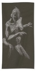 Kroki 2015 10 03_12 Figure Drawing White Chalk Hand Towel