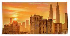 Kuala Lumpur Twin Towers Hand Towel by Charuhas Images