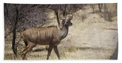 Hand Towel featuring the photograph Kudu Crossing by Ernie Echols